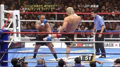 チェ・ホンマンの見事な金的(腸蹴り)2